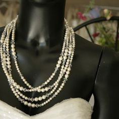 "Variable sized pearls and crystal beads are combined in this 30"" long necklace. It  wraps in many lengths for a custom look Reg. price $330 Sale priced at $264.00. Perfect Christmas gift for the bride.  http://www.victoriarosebridals.com/?product=7427mh"