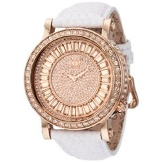 Juicy Couture Women's Watch: 1900850 QUEEN COUTURE White Embossed Leather Strap.