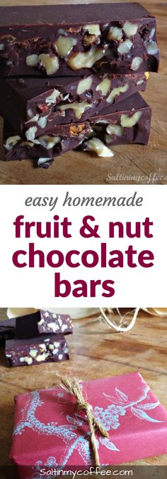 Quick and easy recipe for homemade fruit and nut chocolate bars! Super easy, and they make a great DIY handmade Christmas gift!