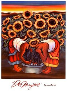 Dos Mujeres by Simon Silva mexican fork art Mexican Artwork, Mexican Folk Art, Murals Street Art, Diego Rivera Art, Hispanic Art, Fork Art, Latino Art, Sunflower Art, Chicano Art