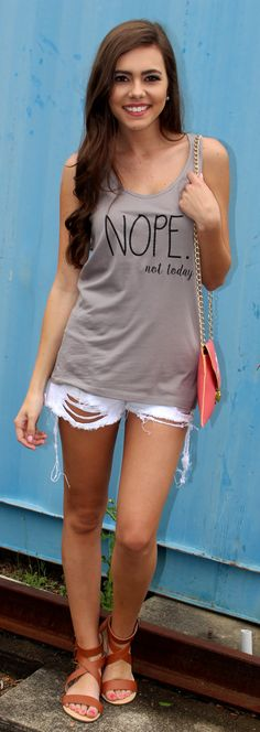 "Mondaydress.com $19.99 Nope Not Today Graphic Tank Top. The perfect ""go-to"" for Mondays!"