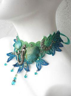 Queen of the Sea Fairy chocker / necklace (beach, ocean, make believe) Mermaid Bra, Mermaid Jewelry, Ocean Jewelry, Seashell Jewelry, Mermaid Necklace, Lace Jewelry, Jewelery, Mermaid Gifts, The Little Mermaid