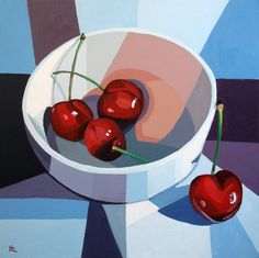 bowl of cherries still life painting by Ria Hills  $550