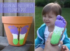 Creative Ideas - DIY Cute Footprint Butterfly Flower Pot #DIY #craft #kid