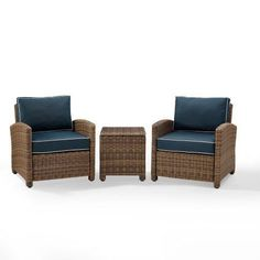 Crosley Furniture Bradenton 3-Piece Outdoor Wicker Conversation Set with Navy Cushions - Two Arm Chairs & Side Table, Blue