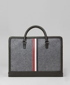 Felt and leather computer bag from Brooks Brothers and Thom Browne. $495. - black bags on sale, ladies bags on sale, cheap satchel bags *sponsored https://www.pinterest.com/bags_bag/ https://www.pinterest.com/explore/bag/ https://www.pinterest.com/bags_bag/leather-bags-for-men/ http://www.selfridges.com/US/en/cat/bags/