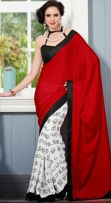 Reflect timeless elegance with this melodic masba print inspired white and red faux crepe and satin half and half saree. First half featuring printed tamil alphabetic patterns all over that gives the attire an inspiring look. #PrintedSaee #SilkCottonSareesPrice