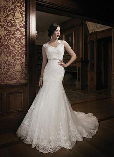 New Elegant Sleeveless Wedding Dresses Mermaid Applique Lace Bridal Gown