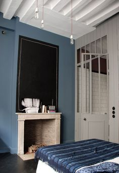 retro blue...herringbone floor, indigo cover, white doors, soft white details