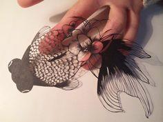 切り絵 金魚