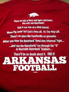 Arkansas Razorbacks Football...Can't wait  for the first game...Go Hogs!!!