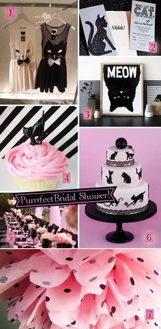 Pink and black decorations, invitations, and cake for a black cats bridal shower #bridalshower #blackcattheme #blackandpink