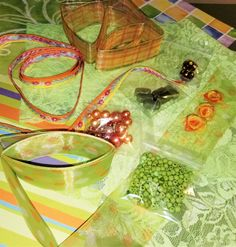CP-105; Mini Mix of Assorted Ribbons, Beads, Lace, Ribbon Roses, Faceted Crystal, All in Shades of Greens and Oranges Green Lace, Green And Orange, Shades Of Green, Pearl Beads, Crystal Beads, Crystals, Complimentary Colors, Lace Ribbon, Different Textures