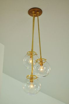 Shipping Upgrade - Classy Brass & Glass Globe Pendant Chandelier