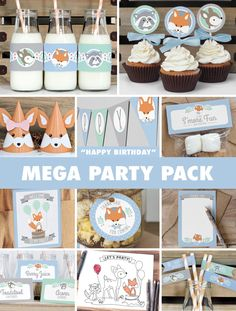 Boy Woodland Birthday Party Mega Pack // INSTANT DOWNLOAD // Mint