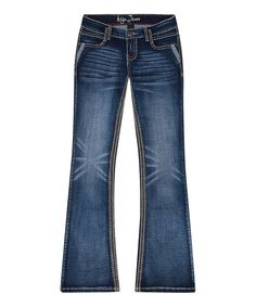 Ariya Jeans Dark Blue Delano Flare Jeans - Plus | zulily
