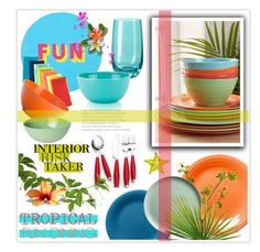 """Tropical Fun Dining"" by nonniekiss ❤ liked on Polyvore featuring interior, interiors, interior design, home, home decor, interior decorating, Urban Outfitters, Lisa Perry, ZAK and Mud Australia"