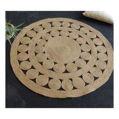 Alfombra redonda con trenzado de yute 100% y estilo étnico, trenzada en espiral en color natural. De fabricación India y en dos tamaños.