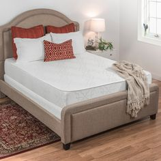 Wake up refreshed every morning after a night's rest on this thick foam mattress. Ten inches of memory foam allow this mattress to conform to your body's unique shape. Use this medium-firm mattress with platform beds or frames featuring slats.