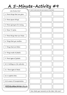 A 5-Minute Activity #9
