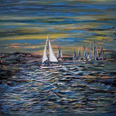 "Daily+Paintworks+-+""Yacht+on+Lake""+-+Original+Fine+Art+for+Sale+-+©+Khrystyna+Kozyuk"