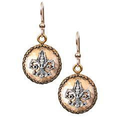 "Aimez Two Tone Earrings Gold Fleur de Lis ""Aimez"" is the French word for the…"