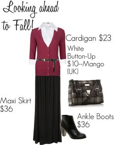 Maxi Skirt with Button up and Cardigan.Well, sort of.white cami, cardigan, black cants (not pants, not capris) but it was my inspiration! Work Fashion, Modest Fashion, Fashion Outfits, Fashion Trends, Modest Outfits, Casual Outfits, Maxi Skirt Winter, Burgundy Fashion, Maxi Cardigan