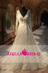 Online Shop 2013 Free Shipping Real Sample Long White V neck Sparkle Luxury Lace Wedding Dress Plus Size With Sleeves AEF019 Aliexpress Mobile