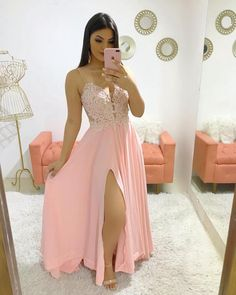 Charming Split Chiffon Prom Dress, A Line Prom Dresses, Long Evening Dress Straps Prom Dresses, A Line Prom Dresses, Grad Dresses, Formal Dresses, Formal Prom, Dress Prom, Party Gowns, The Dress, Ideias Fashion