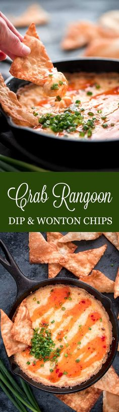 This crowd pleasing Crab Rangoon Dip and Wonton Chips has all the elements of your favorite American Chinese appetizer but is much easier to make. #appetizer #cheesy #gamedayfood