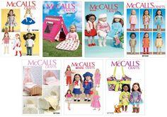 McCall's Schnittmuster für Puppenkleider, Puppenzubehör 45 cm Puppen, Auswahl 3