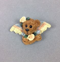 BOYDS BEARS and Friends Fashion Jewelry Brooch/Pin Bear Pink Rose &  wings- CUTE #Boyds #AllOccasion