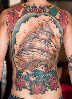 Traditional color back piece done by Zooki Bright Side Tattoo Copenhagen
