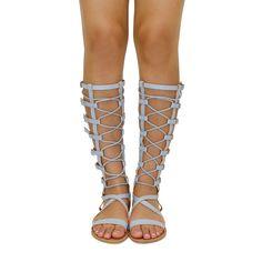 Athena-921AX Ash Blue Flat Gladiator Sandals