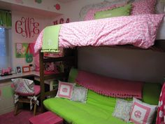 Pink and green dorm room....wish I had done this in college. (Thank god I didn't get on the animal print train)