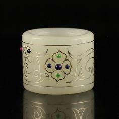 Chinese Hetian Jade Inlay Silver Wire Gemstone Ring 中國清代 和田玉 鑲嵌銀絲 寶石 扳指
