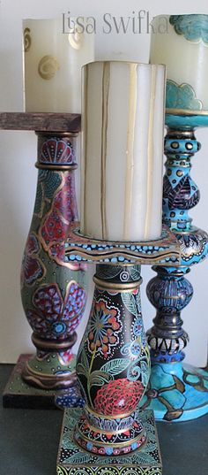 Hand painted wooden candlesticks, 2 were formerly solid black and one was solid white Funky Painted Furniture, Painted Chairs, Painted Dressers, Painted Candlesticks, Candlestick Crafts, Candleholders, Table Furniture, Plywood Furniture, Modern Furniture