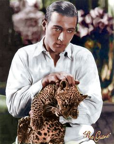 "Rudolph Valentino and leopard cub. Was known as the ""Latin Lover"" or simply as ""Valentino. Golden Age Of Hollywood, Vintage Hollywood, Hollywood Stars, Classic Hollywood, Hollywood Cinema, Hollywood Icons, Rudolph Valentino, Leopard Cub, Baby Leopard"
