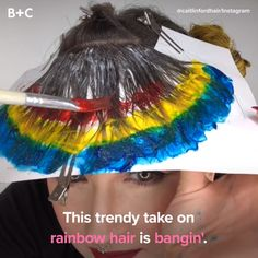 Bangs Are the Trendy Hairstyle You HAVE to See These rainbow bangs are trippy!These rainbow bangs are trippy! Pelo Multicolor, Pinterest Hair, Rainbow Hair, Rainbow Stuff, Crazy Hair, Trendy Hairstyles, Hairstyles Videos, Hair Dos, Men's Hair