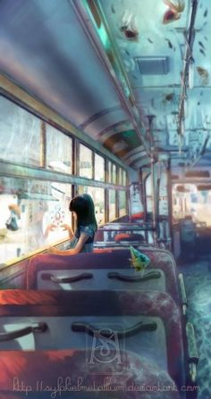 Bus - End of a rainy season by *sylphielmetallium on deviantART on We Heart It. http://weheartit.com/entry/7463572