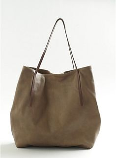 Stitched Handle Tote in Italian Leather - love the simplicity of this