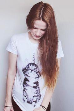 Shirt mit Katzen-Einhorn // shirt with cat unicorn by prettysucks via DaWanda.com