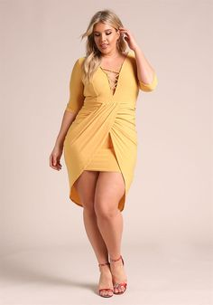 Plus Size Clothing | Plus Size Plunge Cross Strap Layered Bodycon Dress | Debshops