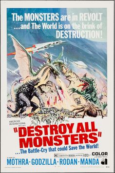 Destroy All Monsters! American poster #Godzilla