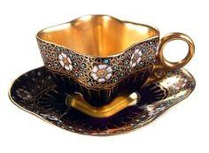 ~ Coalport Cobalt Jewel Gold Lined Demitasse Cabinet Cup Saucer . China Cups And Saucers, Teapots And Cups, China Tea Cups, Teacups, Cup And Saucer Set, Tea Cup Saucer, Antique Tea Cups, Tea Art, Cobalt