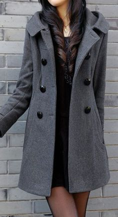 Long Sleeve Double Breasted Grey Coat.