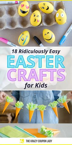 Easter crafts for kids and toddlers need to be easy and quick! There are so many complicated Easter DIY projects out there, it's refreshing to see Easter crafts that are simple, fast, and cheap to make. The Krazy Coupon Lady shows the best DIY Easter craft projects for kids that you'll both enjoy, including DIY chicks, string wrapped eggs, DIY Easter string lights, easter egg dye tricks, egg painting, Easter basket ideas, candy treats, decor, jewelry, and more. Craft Projects For Kids, Diy Projects, Homemade Crafts, Diy Crafts, Do It Yourself Organization, Easter Egg Dye, Coupon Lady, Easter Crafts For Kids, Basket Ideas