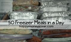 50 Freezer Meals in a DAY!! Includes Honey Lime Chicken, Homemade Pot Pie, Fried Rice, Slow Cooker Orange Chicken, Twice Baked Potatoes, Sweet & Sour Chicken, Honey Glazed Pork Chops, Chicken Parmesan Pesto Shells, Beef Barley Stew and MORE – its all uncooked ingredients, toss into crock pot and cook all day.