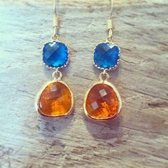 Blue and Orange 'War Eagle' Double Stone Earrings by MariahBennett, $32.00