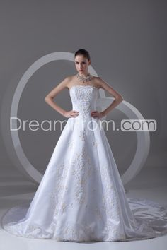 Wedding Dresses A-Line Strapless Sleeveless Natural Lace-up Sweep/Brush TRAIN Satin Embroidery/Beading